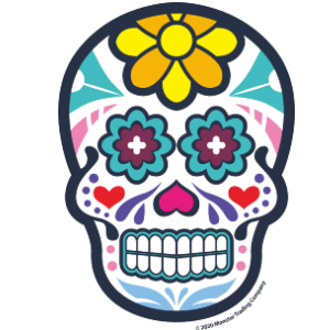 "5"" - ""Ojos Azules"" - Blue Eyes Sugar Skull Sticker"