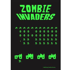 "5"" Green on Black ZOMBIE INVADERS Sticker"